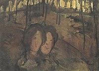 Piet Mondriaan - Two girls in a wood - A91 - Piet Mondrian, catalogue raisonné.jpg