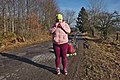 Pink human taking a peanut butter break in Fagne Tirifaye, Waimes, Belgium (VeloTour intersection 80, DSCF3626).jpg