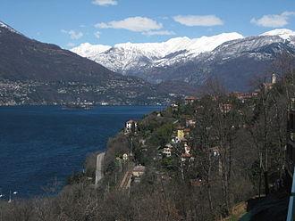 Pino sulla Sponda del Lago Maggiore - View to the north, Pino sulla Sponda del Lago Maggiore and train station Pino-Tronzano