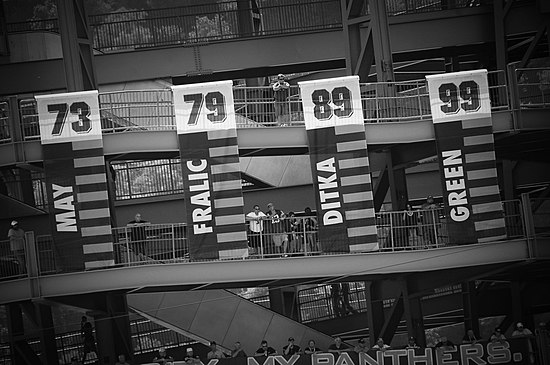 Some of the banners displayed at Heinz Field celebrating Pitt's retired numbers PittRetiredNumberBannersAtHeinz.jpg