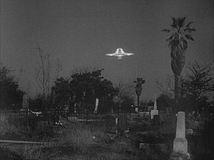 Plan 9 from Outer Space - A flying saucer is seen flying above the graveyard. Plan 9 has been often criticized for its poor special effects.