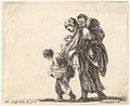 Plate 22- a beggar woman with three children, one child on her shoulders, one child in her arms, and one child who walks in front of her to left, from 'Diversi capricci' MET DP833169.jpg