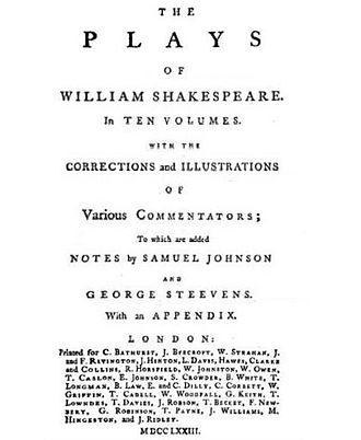 The Plays of William Shakespeare - Title page to 1773 expanded edition