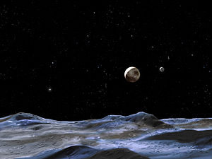 Artist's concept of the surface of Pluto's small satellite Hydra