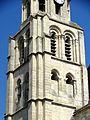 Poissy (78), collégiale Notre-Dame, clocher occidental, 1er et 2e étage de beffroi, vue depuis le sud-ouest.jpg