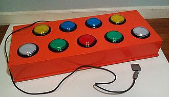 Pop'n Music - Photograph of a homemade Pop'n Music controller.