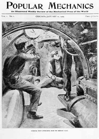 HMS Holland 1 - Inside the Holland 1. Cover of Popular Mechanics, January 1902.