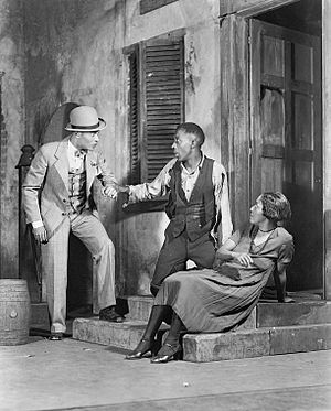 Frank H. Wilson - Frank H. Wilson (center) as Porgy, with Percy Verwayne and Evelyn Ellis in the original Broadway production of Porgy (1927)