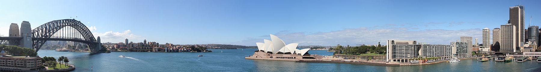 Панорама залива Порт-Джэксон и Сиднея с круизного лайнера