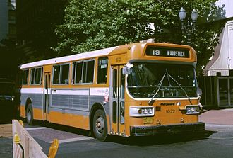 AM General - A 1976 AM General bus of Tri-Met, in Portland, Oregon, showing AM General logo on front
