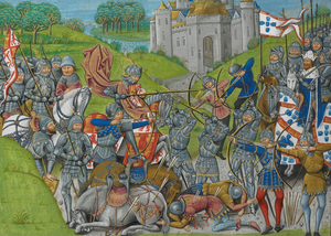 Fernandine Wars - An Anglo-Portuguese army (right) defeats the French vanguard of the Castilian army. From the Chronique d'Angleterre of Jean de Wavrin.