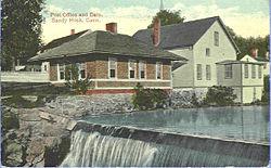 Ufficio postale e diga di Sandy Hook, da una cartolina inviata nel 1914
