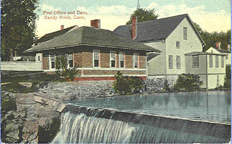 Sandy Hook, Connecticut - Sandy Hook post office and dam, from a postcard sent in 1914