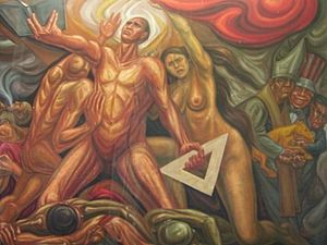 University of Guadalajara - Mural painted in 1972 by Guillermo Chavez Vega inside the Jalisco High School