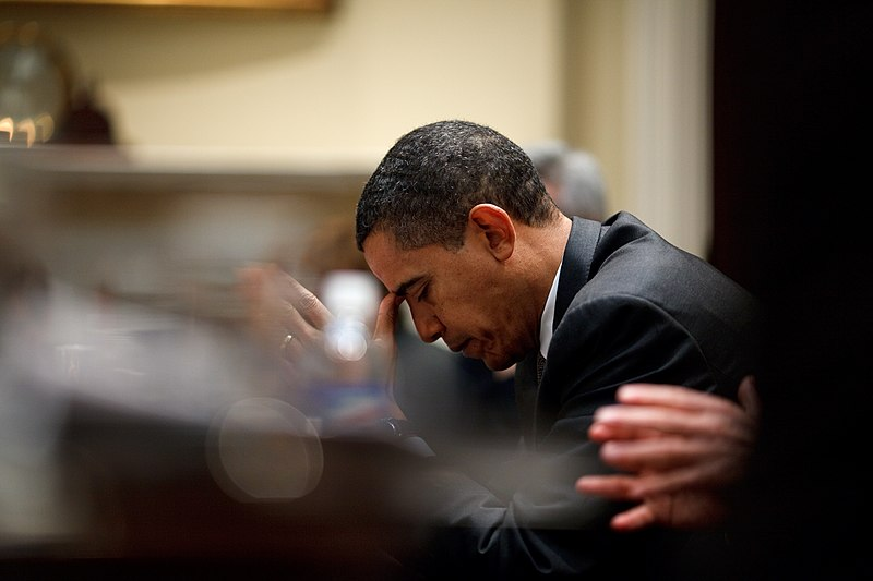 File:President Barack Obama reflects.jpg