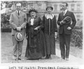 """President Coolidge, """"Mother"""" Jones, Mrs. Coolidge and Theodore Roosevelt, Jr., posed standing on White House lawn. LCCN2002697229.jpg"""