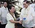President Gloria Macapagal-Arroyo is welcomed by Senate President Juan Ponce Enrile after the troop the line.jpg