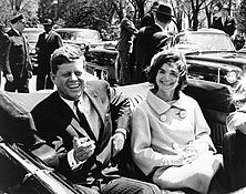 President and Mrs. Kennedy in motorcade, 03 May 1961.jpg