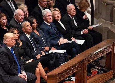 President Trump and former presidents Obama, Clinton, and Carter along with their respective wives pictured during the memorial service at the National Cathedral on December 5, 2018. Presidents at Bush funeral.jpg