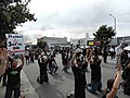 Protestors stand off with police in front of CBS Television City, Los Angeles 01.jpg