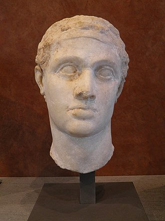 Ptolemy XII Auletes - Hellenistic bust of Ptolemy XII from Ptolemaic Egypt, 1st century BC, now in the Louvre, Paris