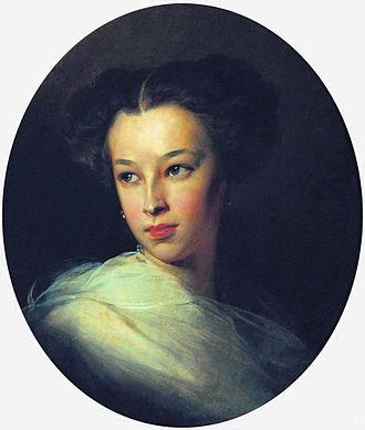 Petro Doroshenko - Natalia Pushkina, countess of Merenberg, one of the most charming women of her time, painting, 1849