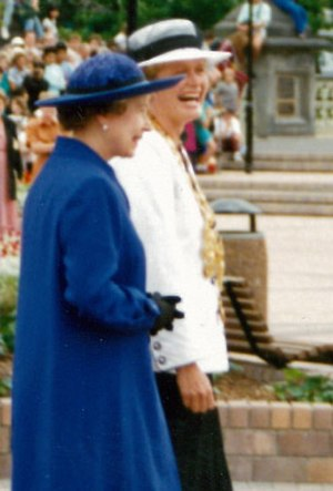 Vicki Buck - Buck with the Queen during a royal walkabout, Victoria Square, Christchurch, February 1990