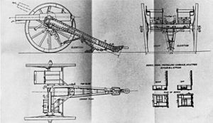 RML 9 pounder 8 and 6 cwt guns - An 1871 diagram showing the gun and carriage of the RML 9 pounder 8 cwt field gun.
