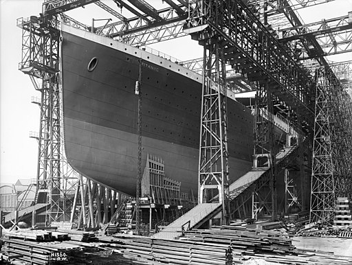 RMS Titanic ready for launch, 1911