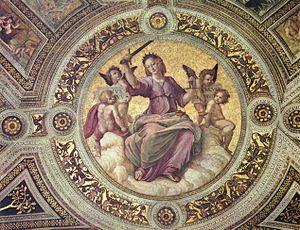 A Justiça (detalhe de afresco no Vaticano - Stanza della Segnatura) por Rafael Sanzio, 1508.