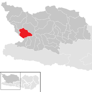 Location of the municipality of Rangersdorf in the Spittal an der Drau district (clickable map)