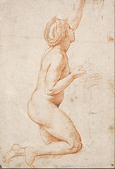 A Kneeling Nude Woman with her Left Arm Raised