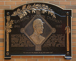 Ray Chapman - Restored Chapman plaque at Heritage Park in Progressive Field