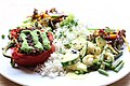 Red pepper stuffed with lentils with rice an veggies (36387949363).jpg