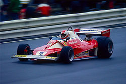 Regazzoni driving the Ferrari 312T at the Nürburgring in 1976.