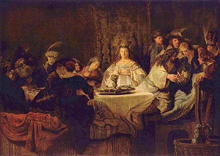 Rembrandt's depiction of Samson's marriage feast Rembrandt Harmensz. van Rijn 146.jpg