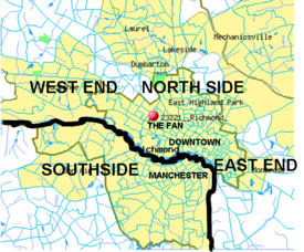 Richmond is often subdivided into North Side, Southside, East End and West End