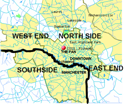 Richmond is often subdivided into North Side, Southside, East End, and West End RichmondNSEW.png