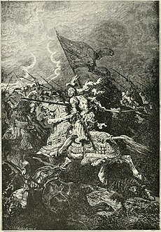 A black and white engraving of a mounted knight charging