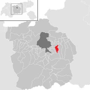Location of the municipality of Rinn in the Innsbruck-Land district (clickable map)