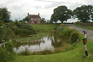 Coton, Shropshire - Image: Roadside pond on NCR 45 geograph.org.uk 1440516