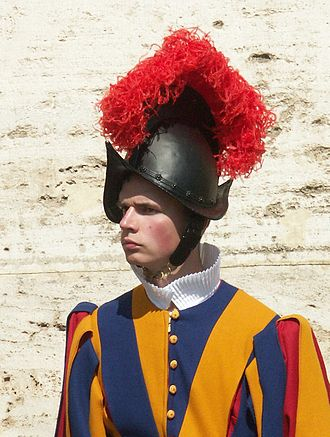 Morion (helmet) - A member of the Swiss Guard with a black morion in the Vatican.