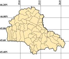 """Mapa konturowa okręgu Braszów, u góry nieco na lewo znajduje się punkt z opisem """"Criț"""""""