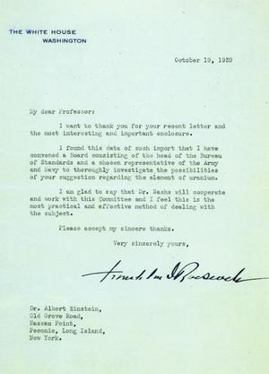 Einstein–Szilárd letter - Roosevelt's reply