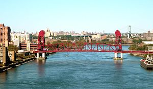 Roosevelt Island Bridge - Roosevelt Island Bridge as viewed from Queensboro Bridge, with Triborough Bridge in the background.