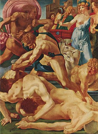 Rosso Fiorentino - Moses Defending the Daughters of Jethro by Rosso Fiorentino (c.1523) at the Uffizi Gallery, Florence.