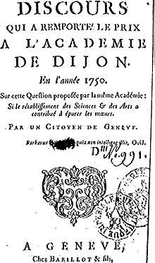 Titelblatt von Rousseaus Discours sur les Sciences et les Arts, 1750 (Quelle: Wikimedia)