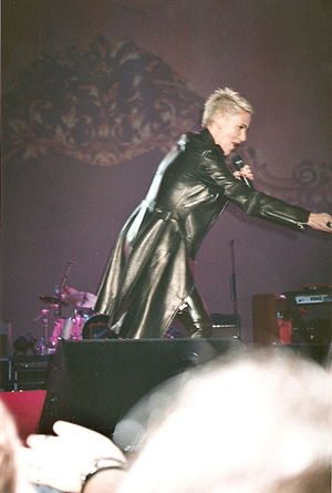 Marie Fredriksson - Fredriksson performing at a Roxette concert in Spain 2001.