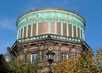 Copper - The East Tower of the Royal Observatory, Edinburgh. The contrast between the refurbished copper installed in 2010 and the green color of the original 1894 copper is clearly seen.