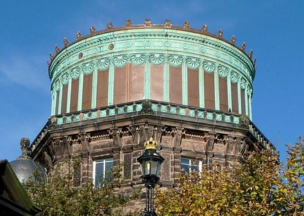 The East Tower of the Royal Observatory, Edinburgh. The contrast between the refurbished copper installed in 2010 and the green color of the original 1894 copper is clearly seen. Royal Observatory Edinburgh East Tower 2010 cropped.jpg